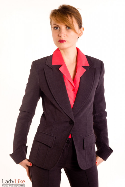Фото Жакет серый на флисе Деловая женская одежда
