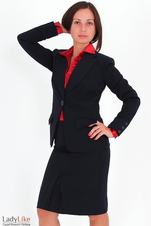 Фото Жакет удлиненный темно-синий Деловая женская одежда