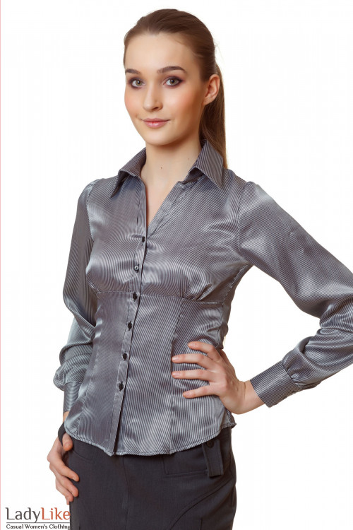 Блузка атласная в черную полоску Деловая женская одежда