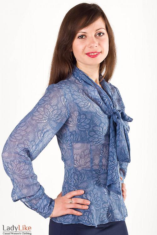 Фото Блузка синяя с бантом Деловая женская одежда