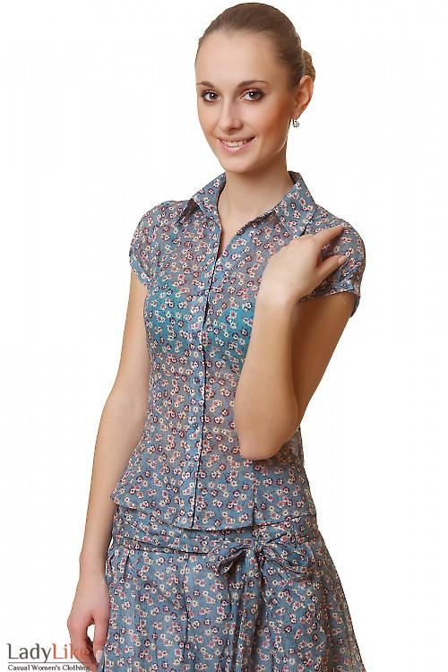 Блузка синяя в розовый цветочек Деловая женская одежда