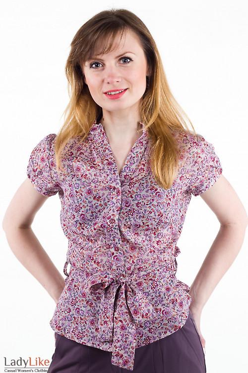 Фото Блузка в мелкий цветочек бежевая Деловая женская одежда