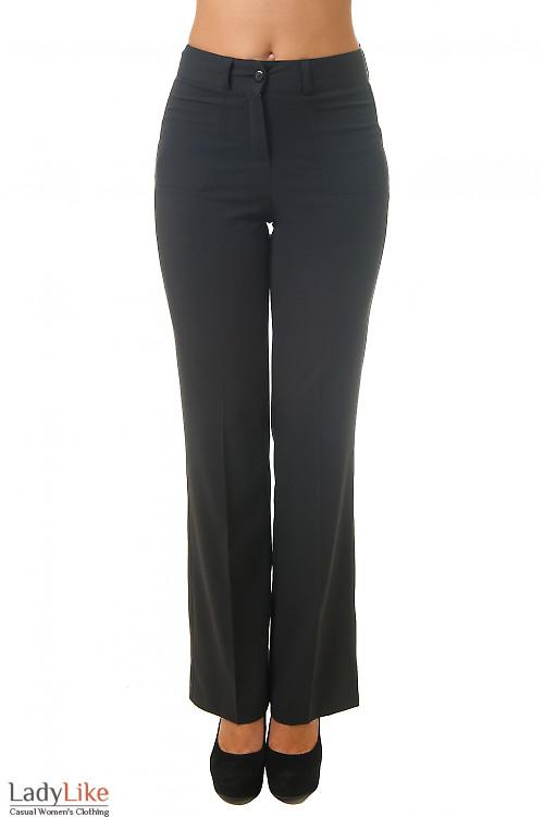 Брюки черные с накладными карманами Деловая женская одежда