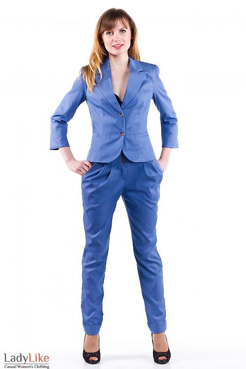 Фото Брюки синие под джинс Деловая женская одежда