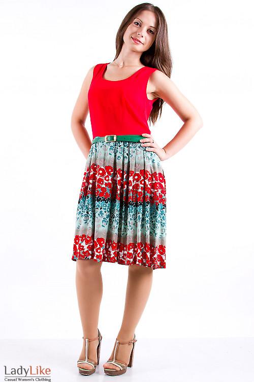 Фото Платье летнее красное из хлопка Деловая женская одежда