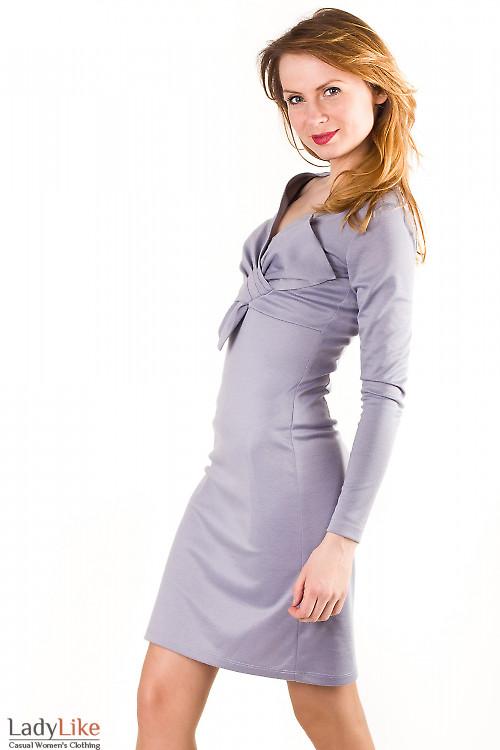 Платье серое с бантом Деловая женская одежда