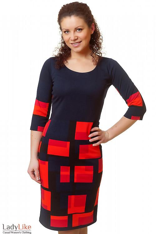 Фото Платье синее в красные квадраты Деловая женская одежда