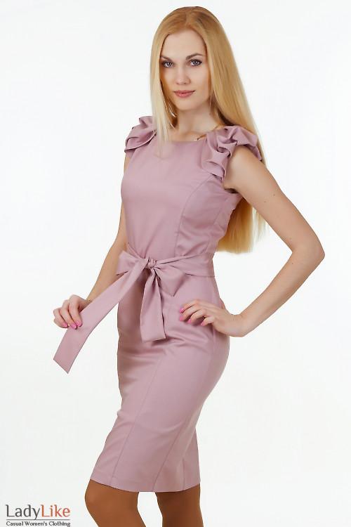 Платье со сборкой на рукавах Деловая женская одежда
