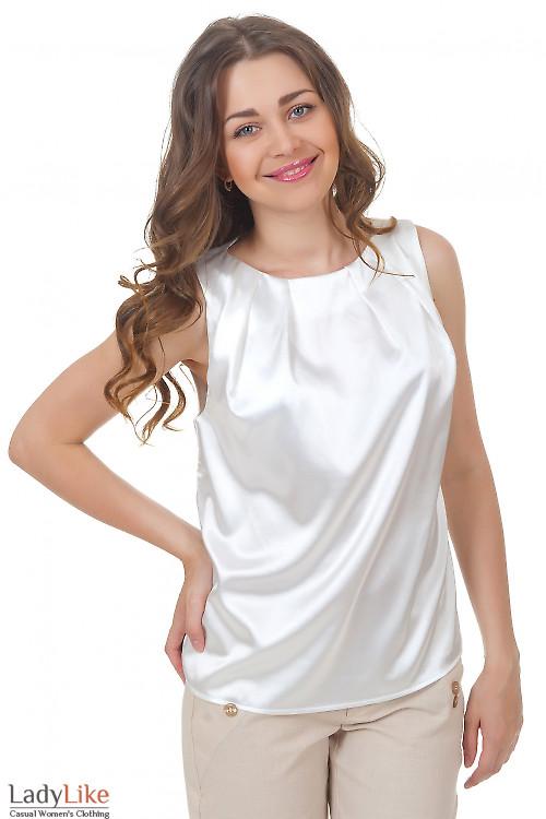 Топ белый атласный Деловая женская одежда
