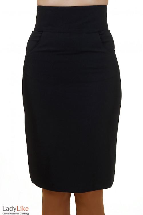 Юбка черная с карманами и высокой талией Деловая женская одежда