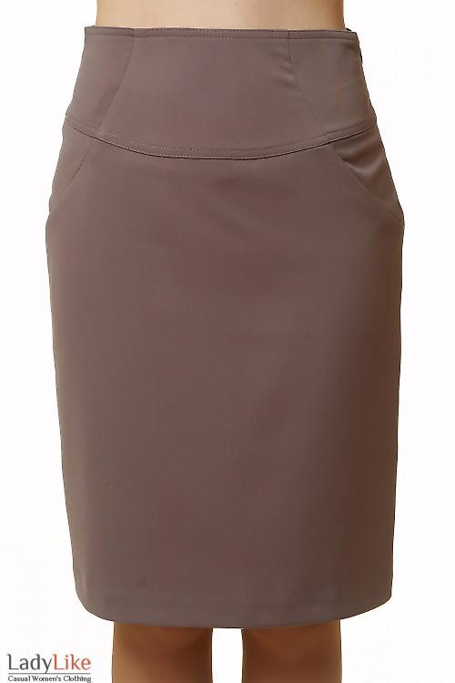 Юбка коричневая с високой талией Деловая женская одежда