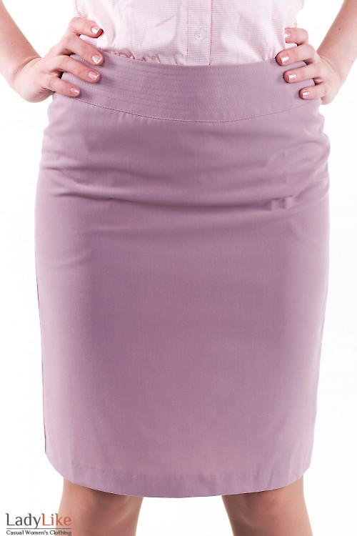 Фото Юбка розовая с отделочной строчкой Деловая женская одежда