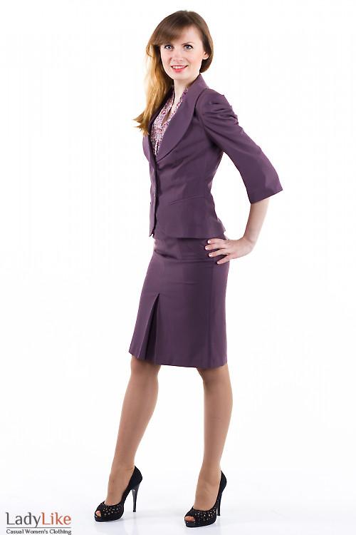 Фото Юбка сиреневая с бантовой складкой Деловая женская одежда