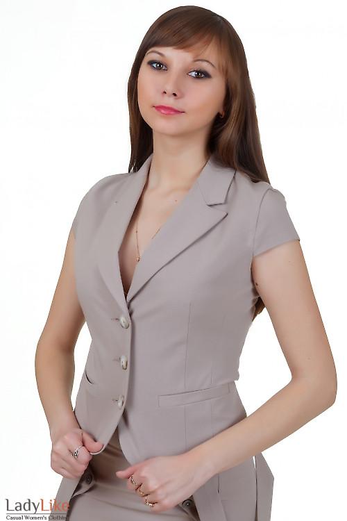 Жакет бежевый летний с коротким рукавом Деловая женская одежда