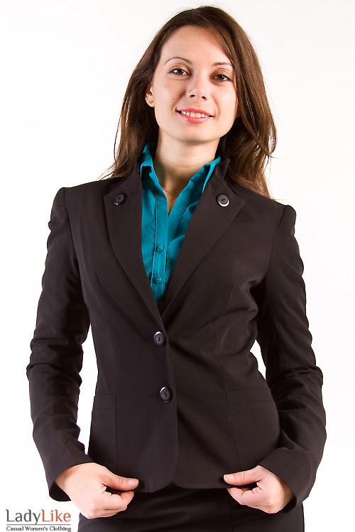 Фото Жакет черный со стойкой Деловая женская одежда