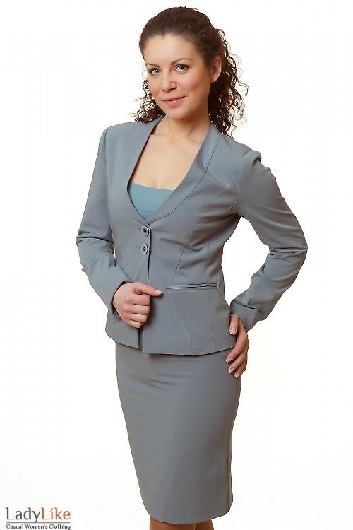 Фото Жакет серый с тонким воротником Деловая женская одежда