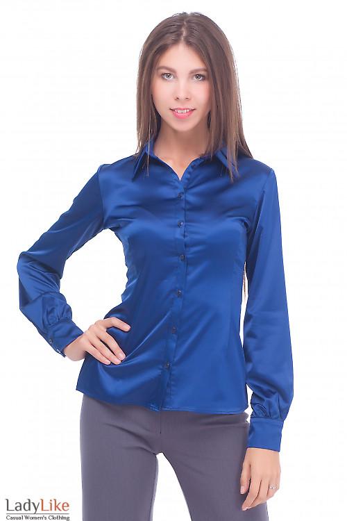 Блузка атласная со складкой на воротнике Деловая женская одежда