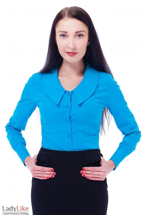 Купить блузку голубую с острым воротником Деловая женская одежда