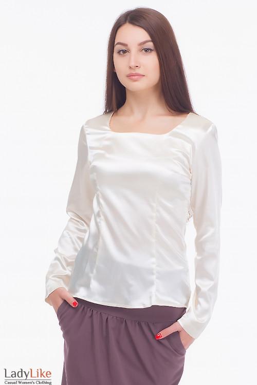Блузка молочная с длинным рукавом Деловая женская одежда