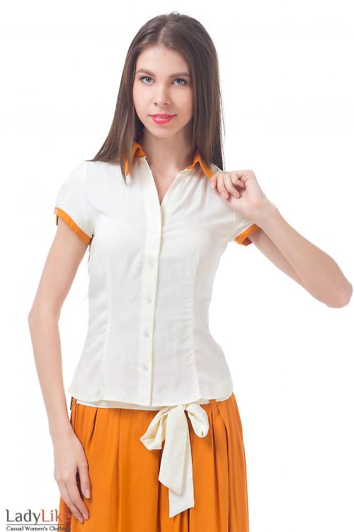 Блузка молочная с рыжим воротником Деловая женская одежда