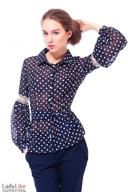 Купить блузку шифоновую в белый горошек Деловая женская одежда