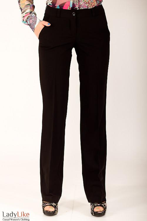 Фото Брюки прямые черные Деловая женская одежда