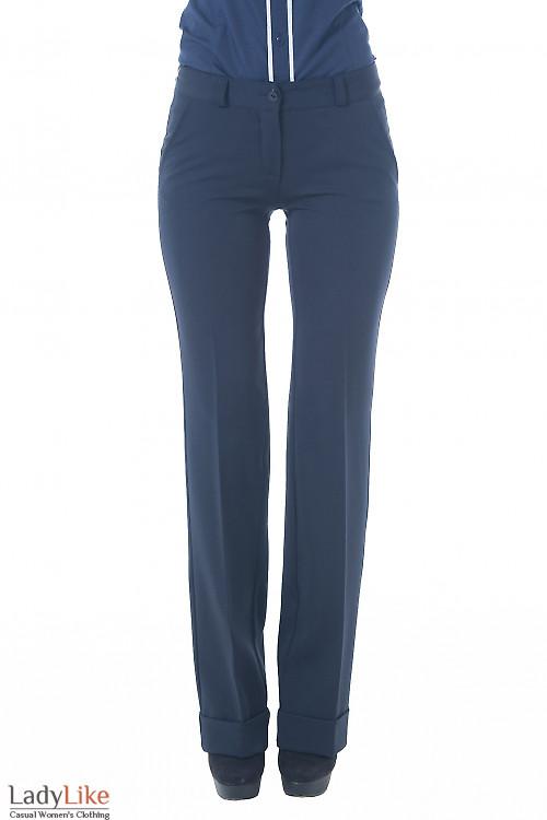 Купить брюки синие с широкой манжетой Деловая женская одежда