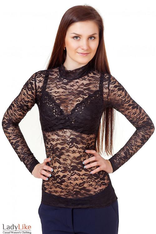 Гольф черный из гипюра Деловая женская одежда