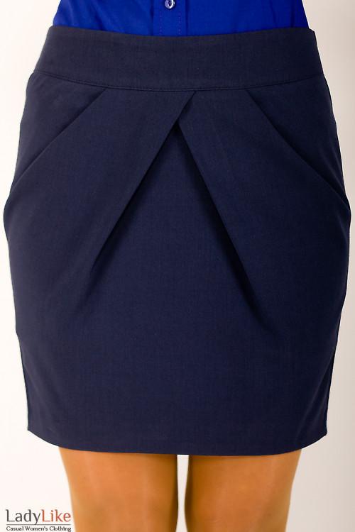 Фото Юбка короткая синяя Деловая женская одежда