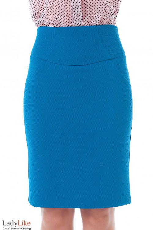 Купить юбку трикотажную бутылочного цвета Деловая женская одежда