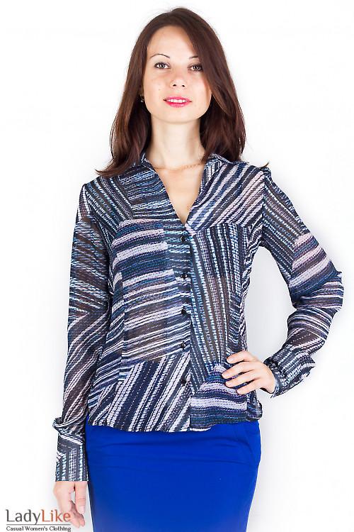Фото Блузка шифоновая с принтом Деловая женская одежда