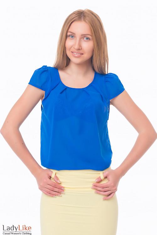 Блузка синяя с коротким рукавчиком Деловая женская одежда
