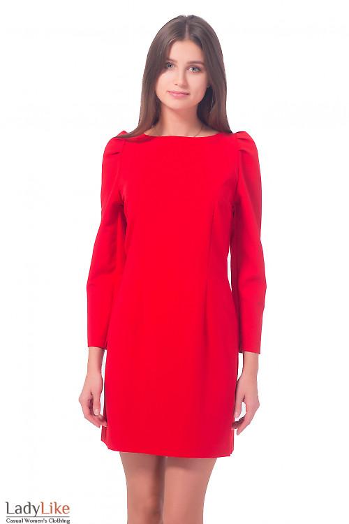 Платье красное с длинным рукавом-фонариком Деловая женская одежда