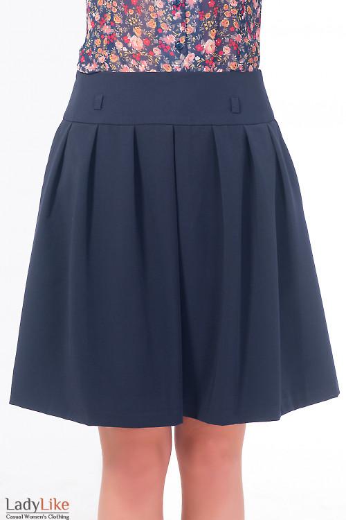 Юбка синяя пышная с карманами Деловая женская одежда