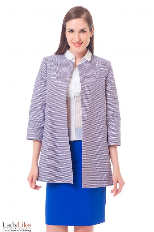 Жакет-кардиган в сиреневый узор Деловая женская одежда