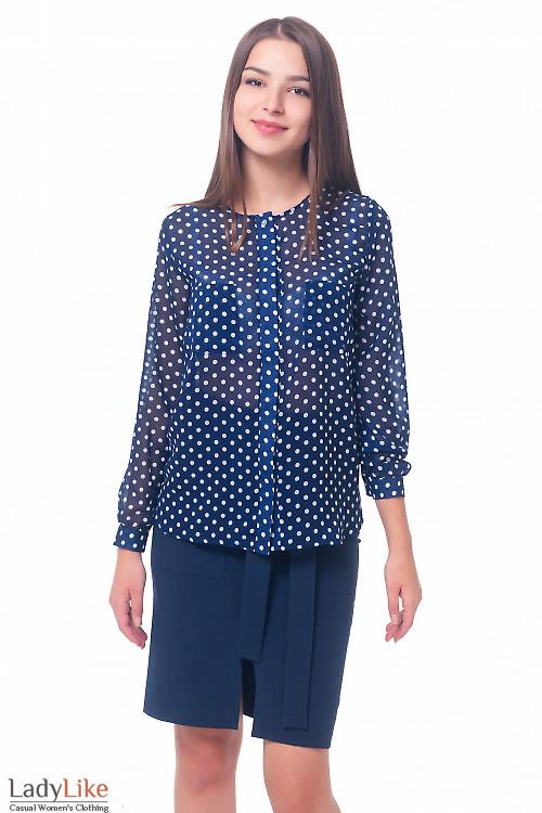Блузка синяя в горох с накладными карманами Деловая женская одежда