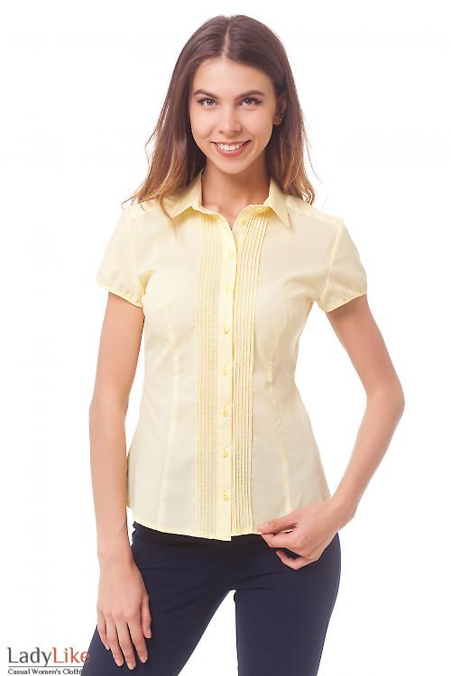 Блузка желтая с тонкими защипами Деловая женская одежда