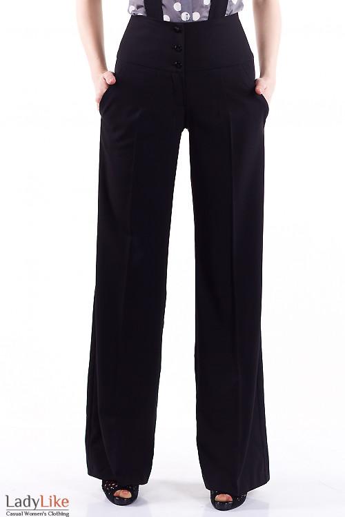 Фото Брюки на бретелях черные Деловая женская одежда