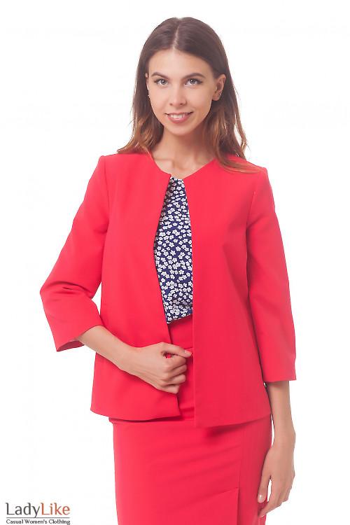 Кардиган коралловый с карманами Деловая женская одежда