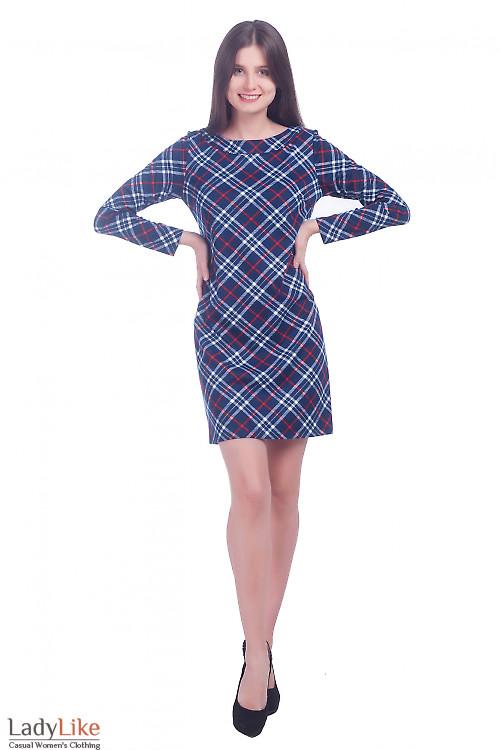 Фото Платье короткое синее в клеточку Деловая женская одежда