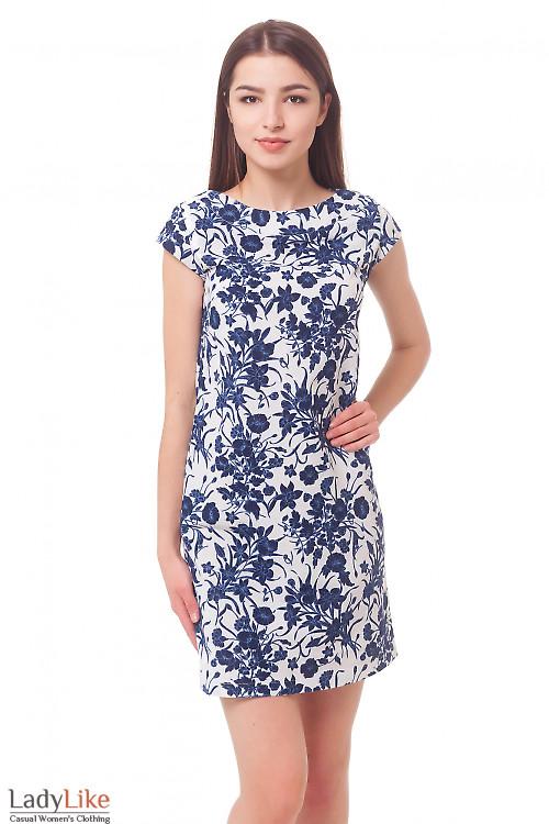 Платье льняное в синие цветы Деловая женская одежда