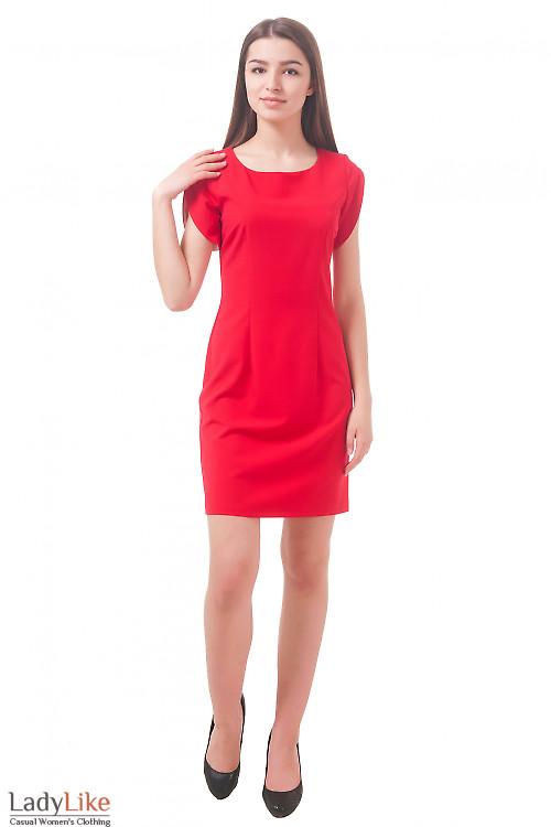 Фото Платье с рукавом тюльпан красное Деловая женская одежда