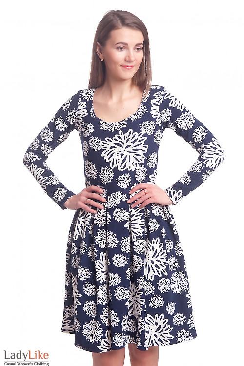 Платье синее в белый узор с пышной юбкой Деловая женская одежда