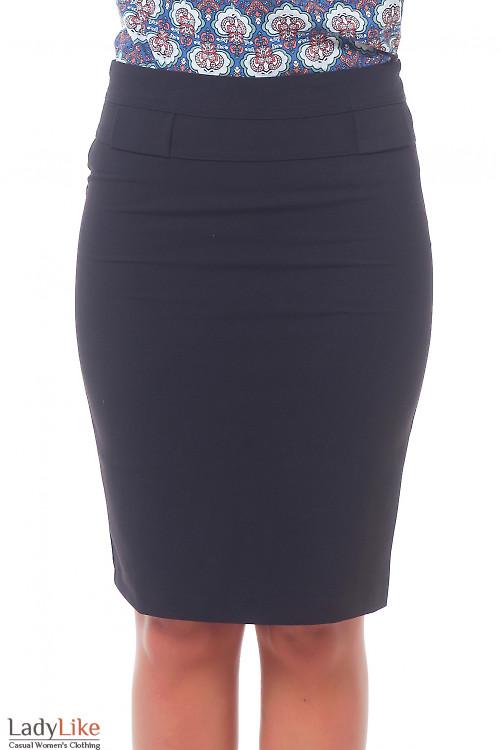 Юбка черная с фигурной кокеткой Деловая женская одежда