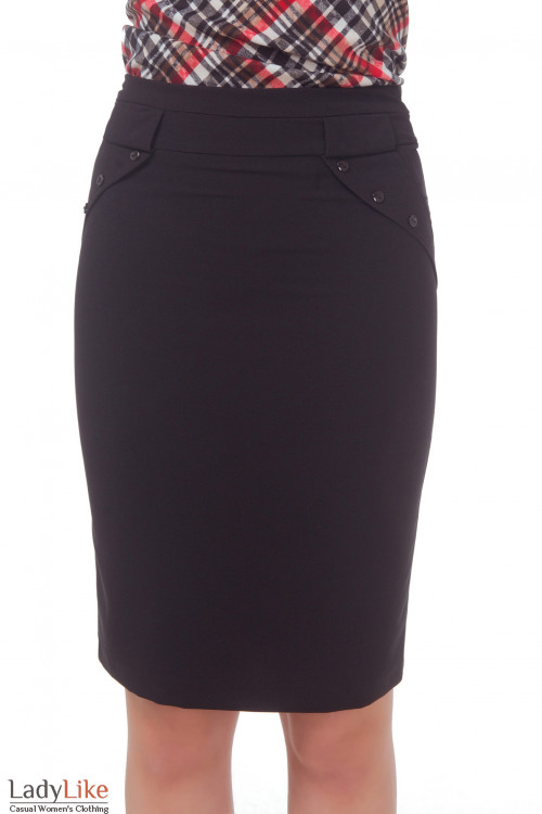 Юбка черная с клапанами Деловая женская одежда