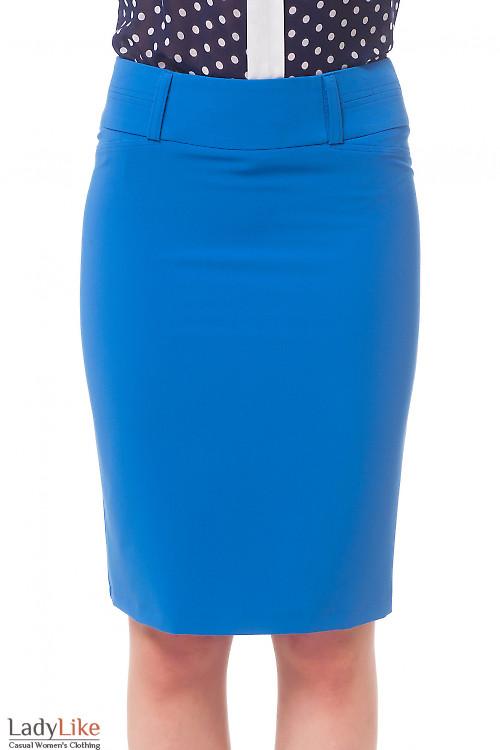 Юбка голубая со строчкой на поясе Деловая женская одежда