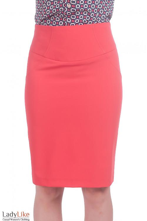 Фото Юбка с завышенной талией коралловая Деловая женская одежда