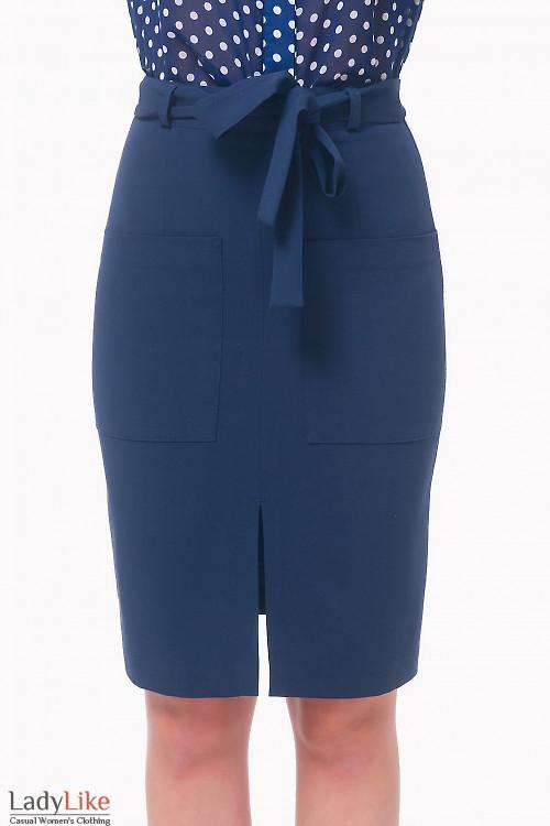 Юбка синяя с накладными карманами Деловая женская одежда