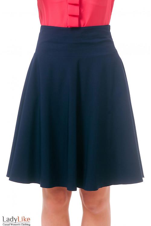 Фото Юбка солнцеклеш темно-синяя Деловая женская одежда