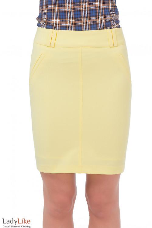 Юбка желтая с карманами обманками  Деловая женская одежда